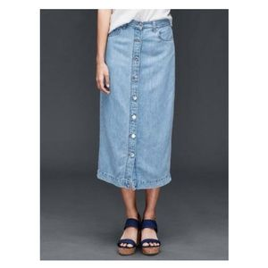 Linen cotton denim button down maxi skirt